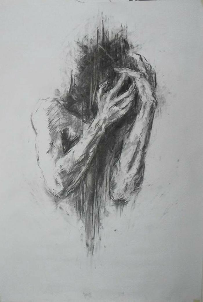 Esquisse dessin fille triste, dessin de la tristesse facile a reproduire sentiments crayon