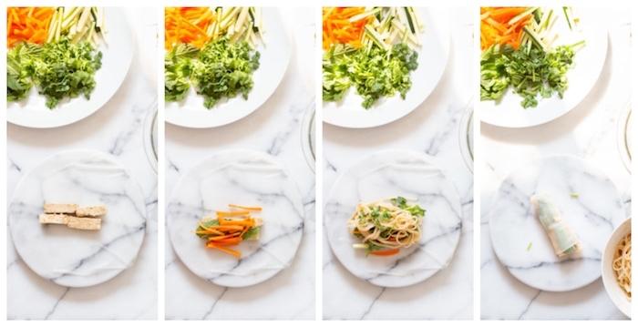 comment faire des rouleaux de printemps recette vegan avec tofu mariné, nouilles, carottes et salades