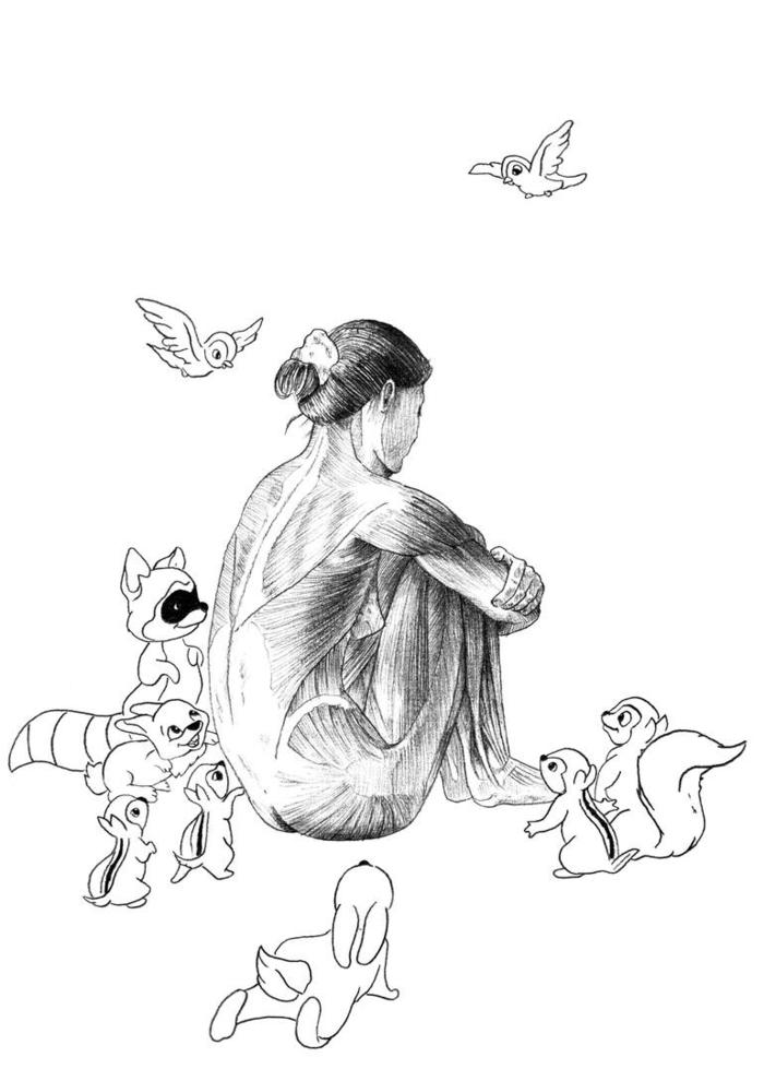 tFille assise dos monde animaux autour triste dessin à reproduire soi-même, originale idée dessin femme triste