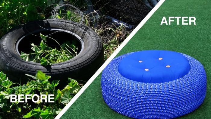comment décorer son jardin avec des objets recyclés, projet de transformation d'un pneu en ottoman de jardin original
