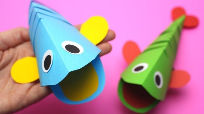 activité manuelle enfant, fabriquer des formes de poissons en papier scrapbooking, idée de bricolage facile pour petits