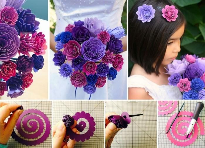 idée d'activité manuelle facile et petit budget, exemple comment faire un pince cheveux facile à motif fleur en papier