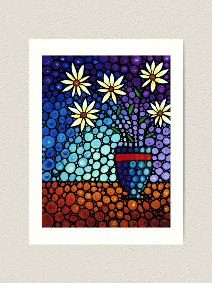 Vase avec fleurs puzzle diamant, broderie diamant personnalisé idee tableau a faire