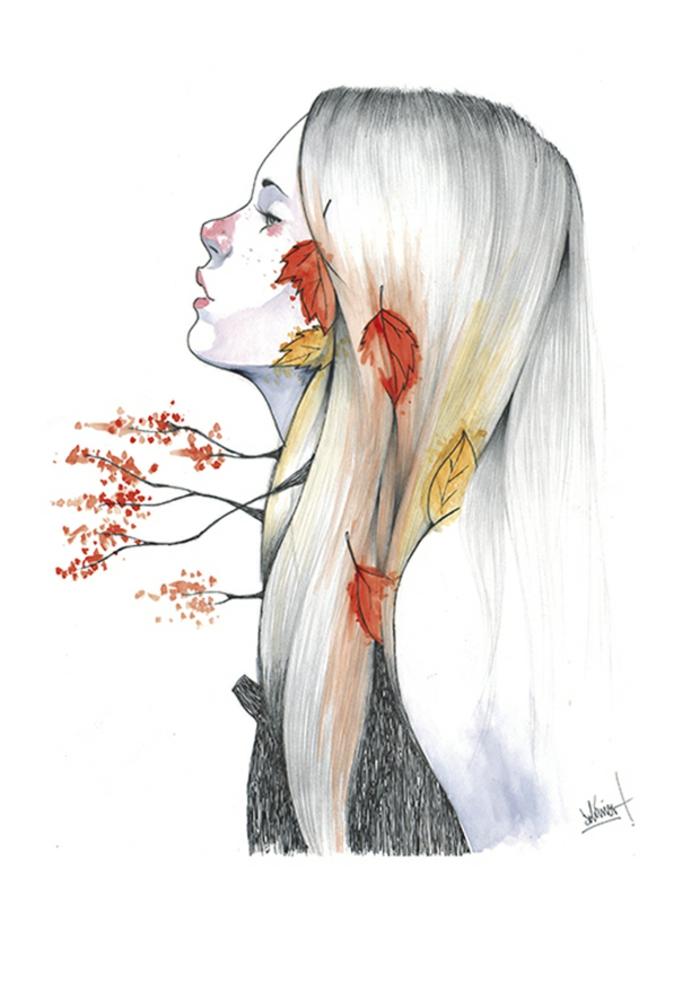 Automne dans le coeur dessin triste amour, dessin a dessiner, la beauté du spectre des émotions