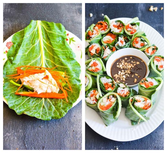 comment faire une recette rouleau de printemps poulet crudités enveloppées d une feuille de salade verte