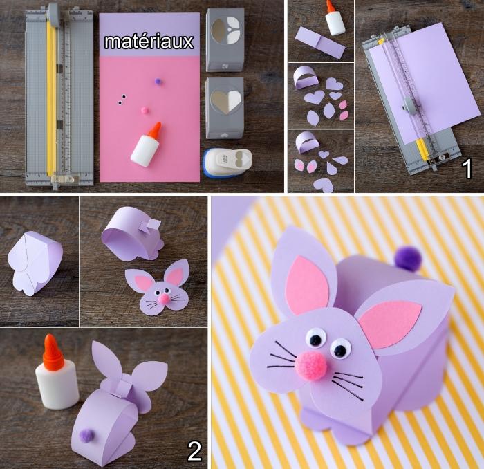 diy forme de lapin rose avec nez rose et yeux mobiles, idée d'activité manuelle primaire, figurine animalière facile à faire avec papier