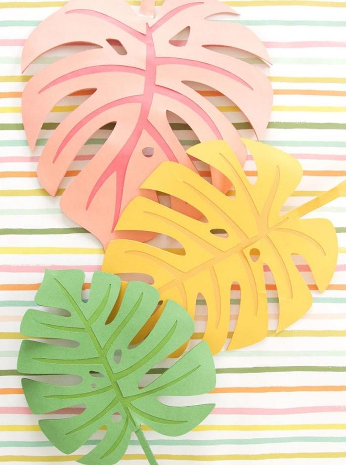 activité manuelle printemps, comment faire des feuilles colorées en papier, idée de décoration originale facile et petit budget