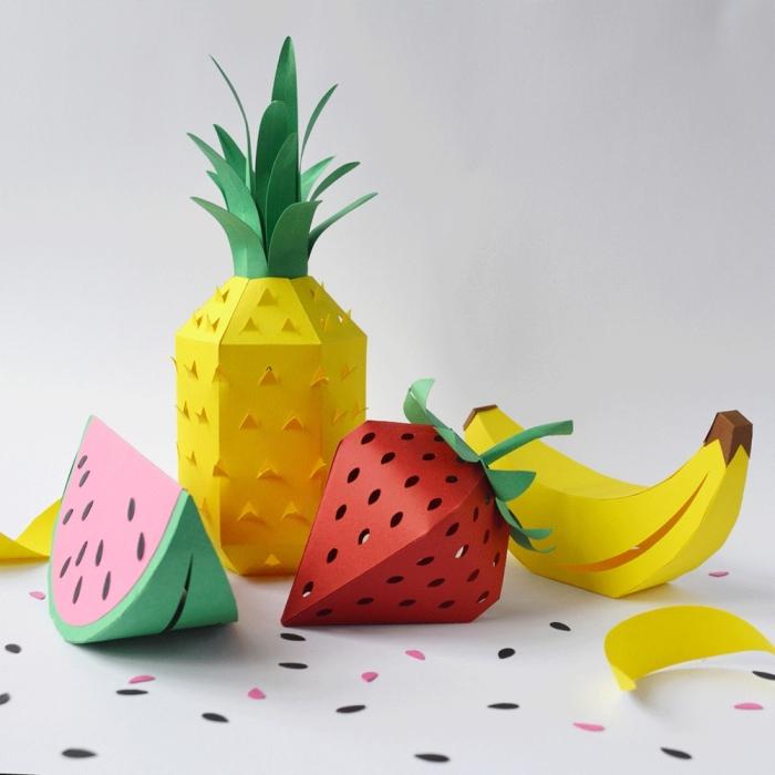 activité manuelle printemps facile pour enfants, comment faire des formes de fruits originales avec papier scrapbooking