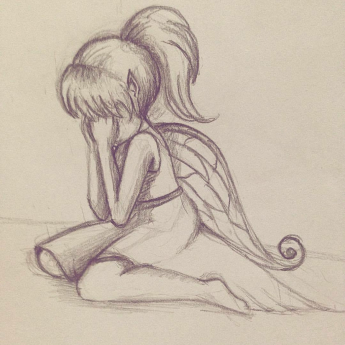 Fée triste personnage triste à dessiner pour se sentir mieux, comment faire un dessin ailes fille robe courte