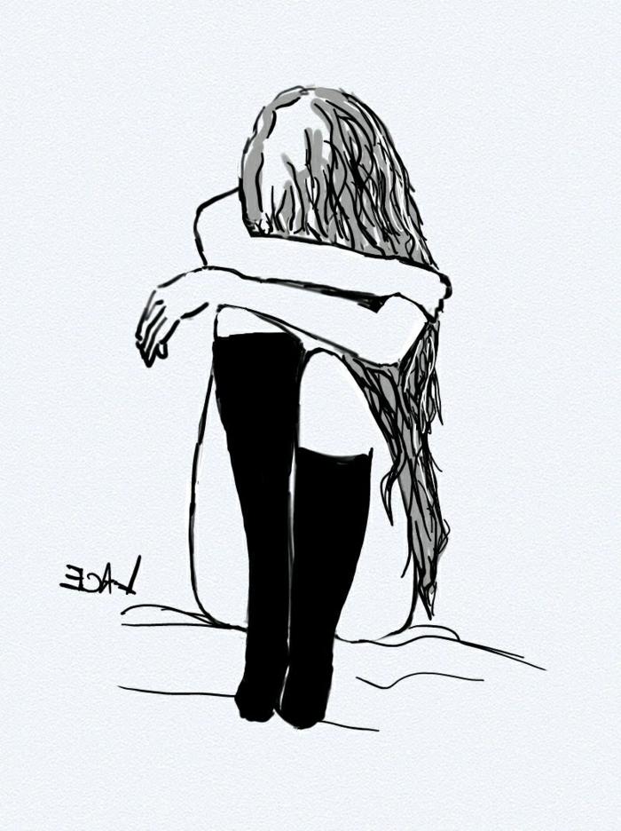 FIlle qui pleure suggestion dessin triste facile a reproduire, dessins faciles a faire pour debutants