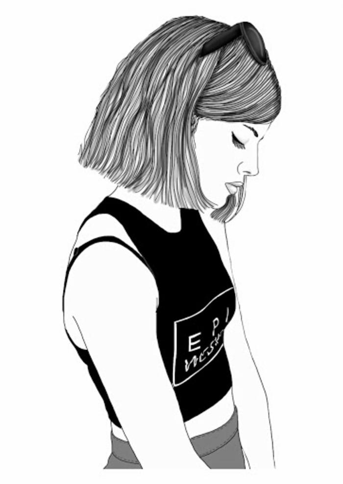 Tumblr fille cheveux courts idée de dessin, originale idée pour un dessin a dessiner en retracant une image