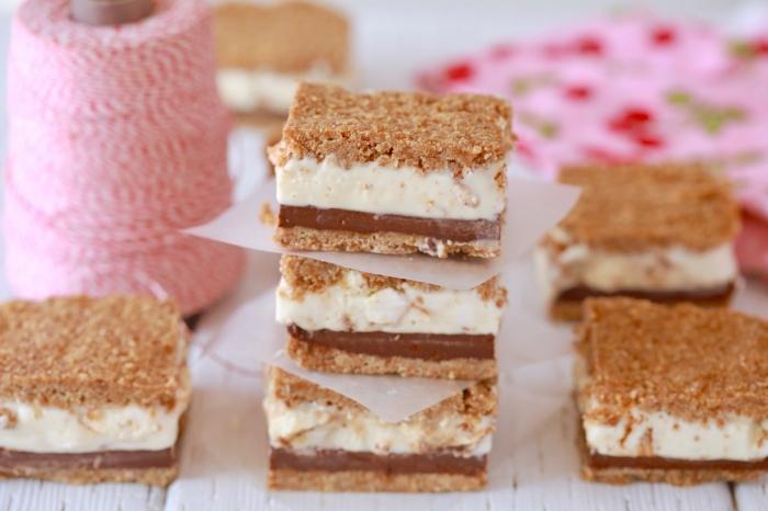 frozen s mores recette facile biscuits graham mélange pudding lait froid pâte de guimave crème glace vanille