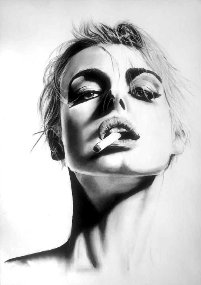 Réaliste dessin lumière obscure portrait image dessin facile a reproduire, essayer soi meme chez soi de faire un dessin