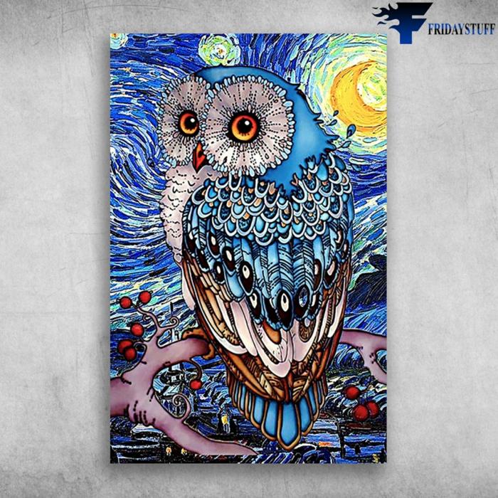 Hibou avec grands yeux lune creation diamant broderie, activité créative a realiser soi meme