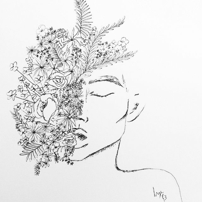 Homme portrait demi visage et fleurs dessin facile a faire, visage dessin, les plus beaux dessins du monde