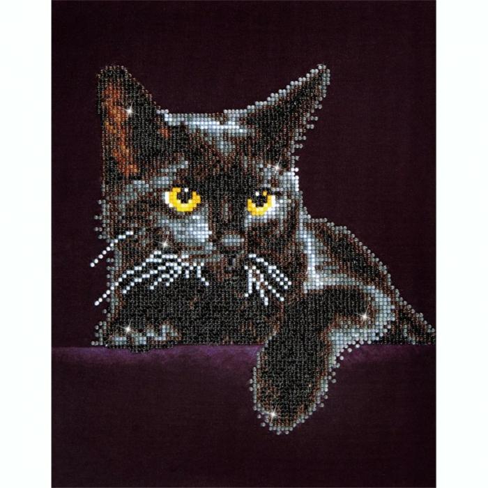 Chat noir en puzzle broderie idee de modele broderie a faire soi meme, idée activité manuelle creation diamant