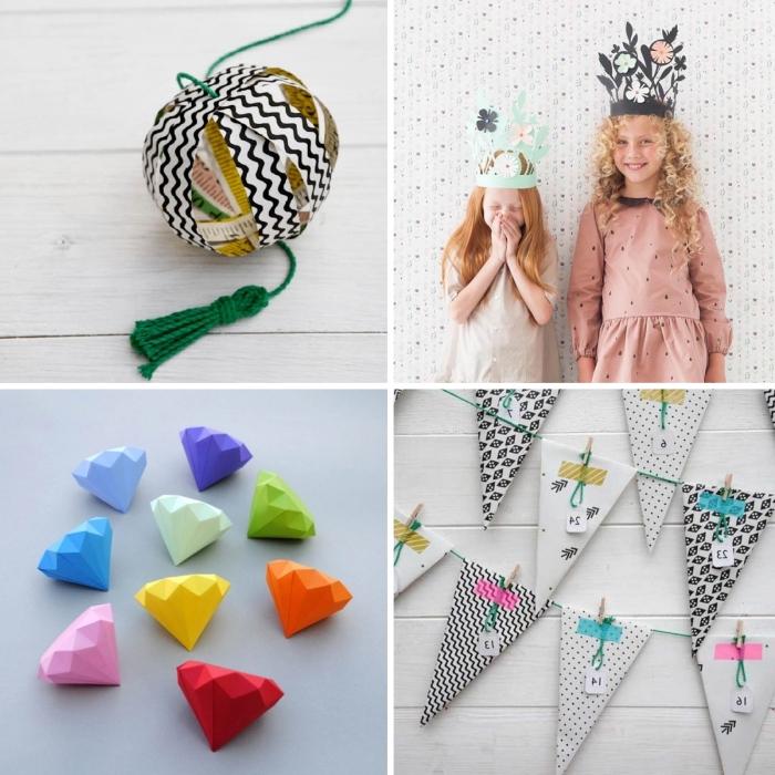 activité manuelle hiver pour grands et petits, idées de créations originales en papier à faire avec des enfants, diy pyramide en papier facile