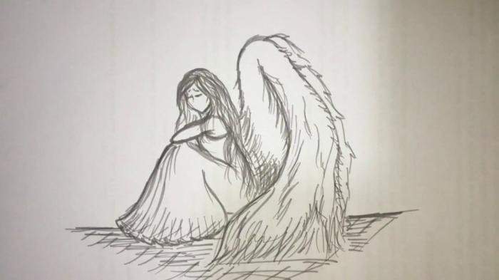 Ailes fille robe longue dessin facile fille, les plus beaux dessins à reproduire idée originale