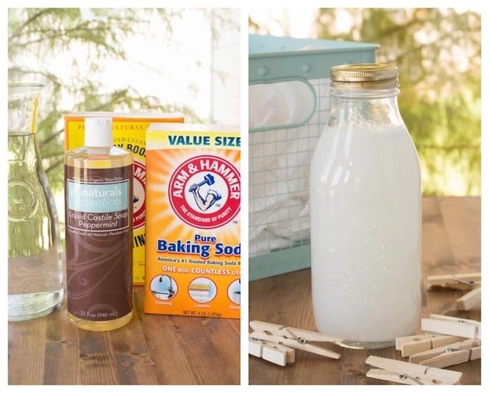 idée de lessive fait maison en savon de castille bicarbonate de soude cristaux de soude et de l eau