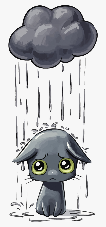 Chat sous nuage qui pleut idée dessin depression, comment exprimer la tristesse en dessin