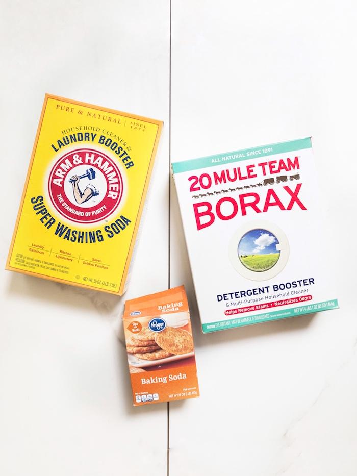 ingredients necessaires pour faire sa lessive soi même avec borax poudre à lever et cristaux de soude