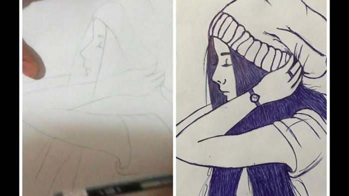 Comment dessiner une fille dessin triste facile, art émouvant idée dessin la beauté triste émotion