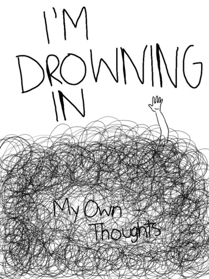 Plongé dans ses pensées dessin fille triste, dessin depression, idée fond d'écran triste dessin