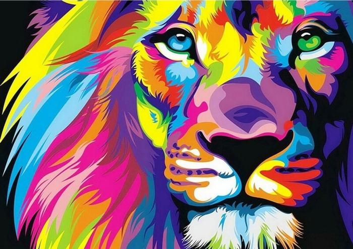 Lion coloré pour les plus avances de la broderie idée activité manuelle creation diamant, idées loisirs créatif