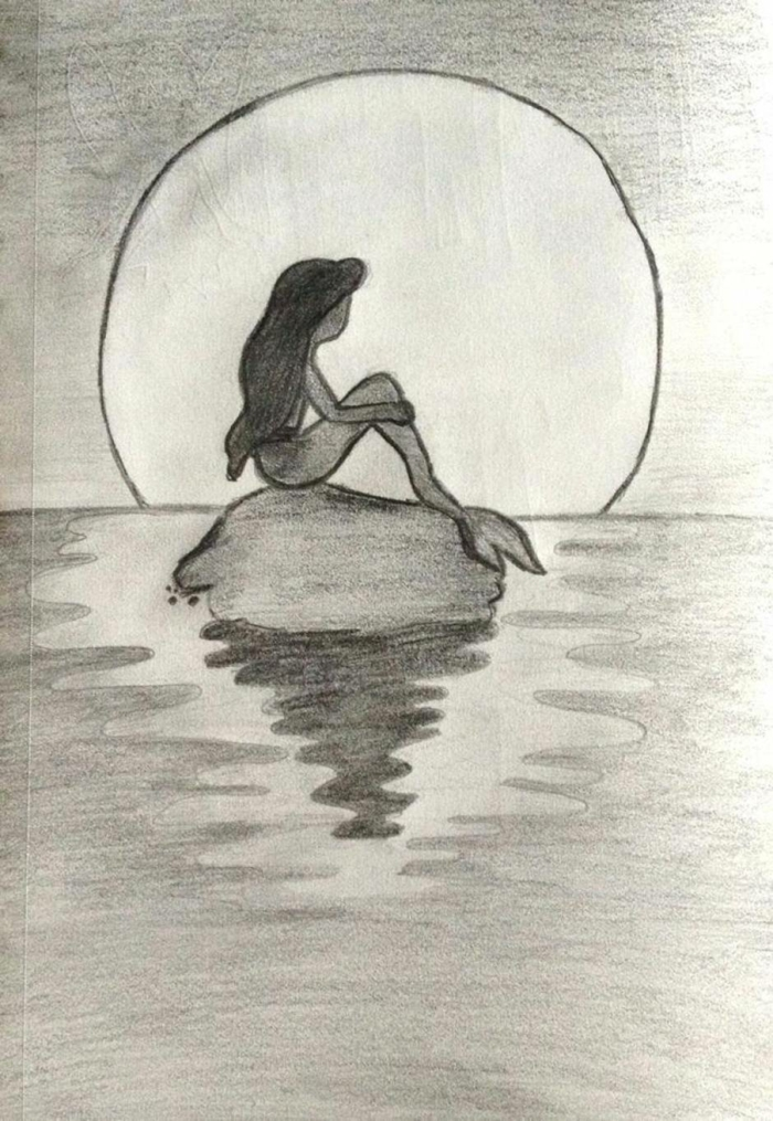 La petite sirène triste dessin crayon, original dessin facile fille, dessin triste facile a reproduire