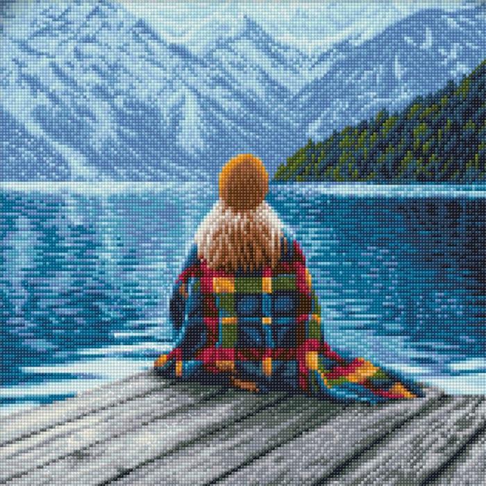 idée de jolie peinture avec perles diamant, paysage naturel et une fille assise au bord d'un lac devant les montagnes comme broderie diamant