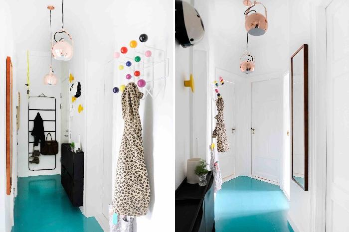 lampe suspendue rose gold revêtement de sol couleur turquoise miroir rectangulaire déco couloir étroit meuble noir rangement mural