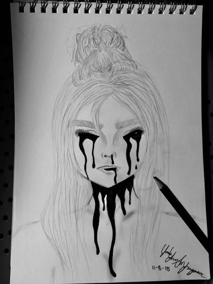 Portrait de femme cheveux longs larmes de sang dessin femme triste, dessin dépression, idée de dessin fille émotions