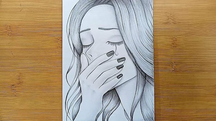 Fille qui pleure dessin triste amour, dessin fille triste, inspiration dessin facile a reproduire