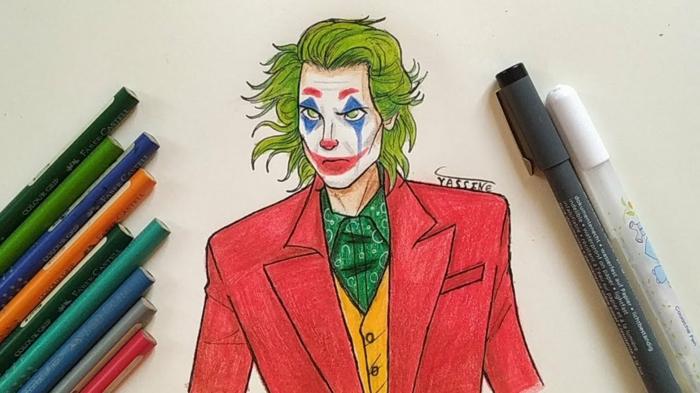 The Joker avec son visage maquillé et la tristesse dessous dessin noir et blanc triste, dessin homme triste, dessin facile a faire pour débutant