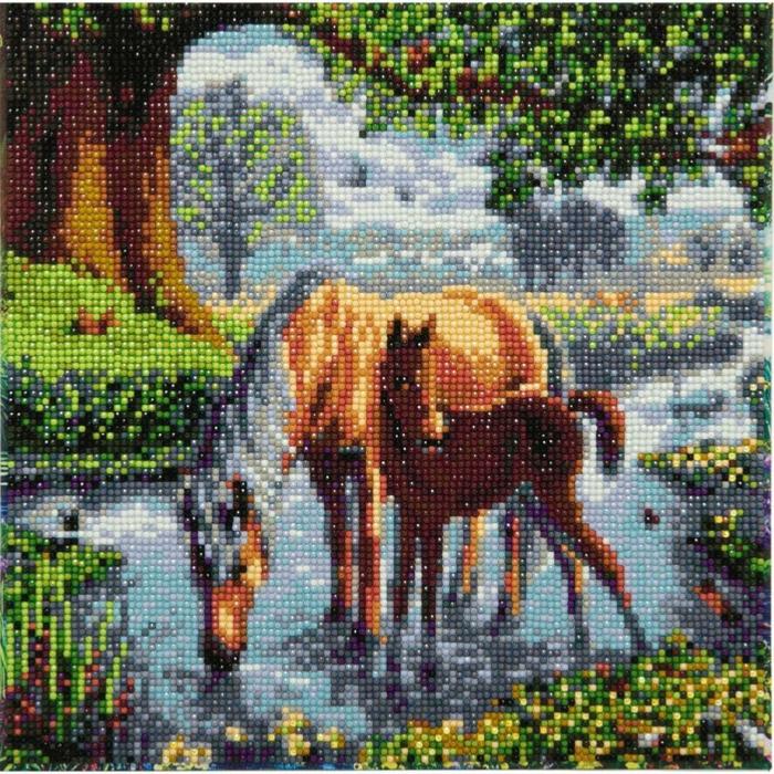 Broderie peinture chevaux mere et enfant dans un rive canevas diamant, broderie diamant modernes peintures pas a pas
