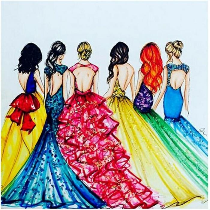 Robes des princesses de disneuy modernes broderie diamant personnalisé, tableau perle diamant encadré