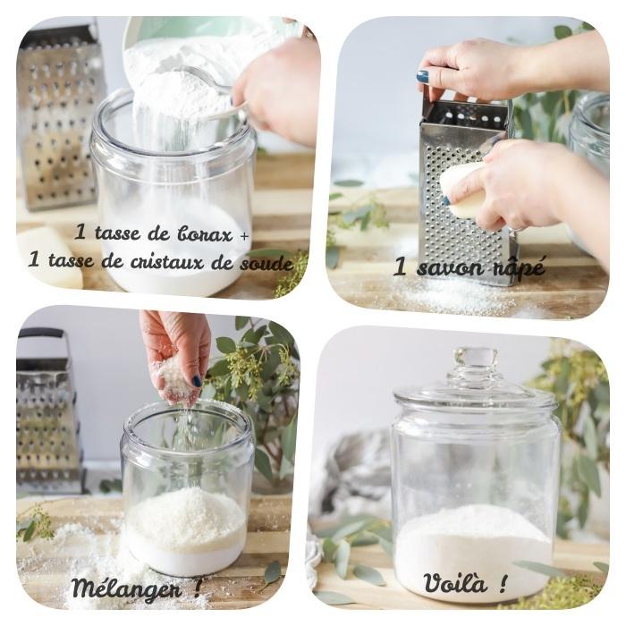 lessive fait maison à base de borax savon râpé cristaux de soude idee diy lessive simple et rapide