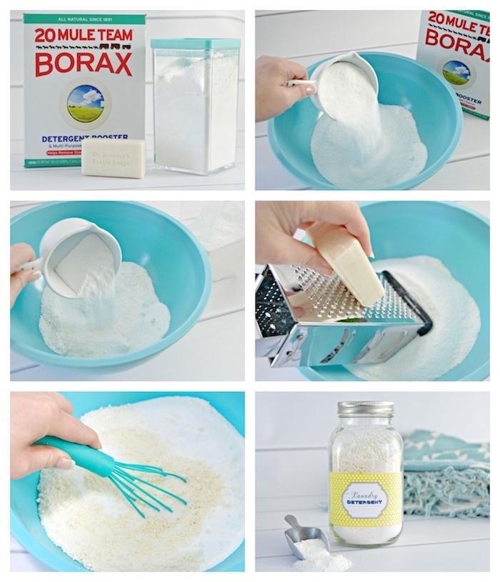 lessive maison recette facile à base de borax savon de vastille et cristaux de soude diy detergent