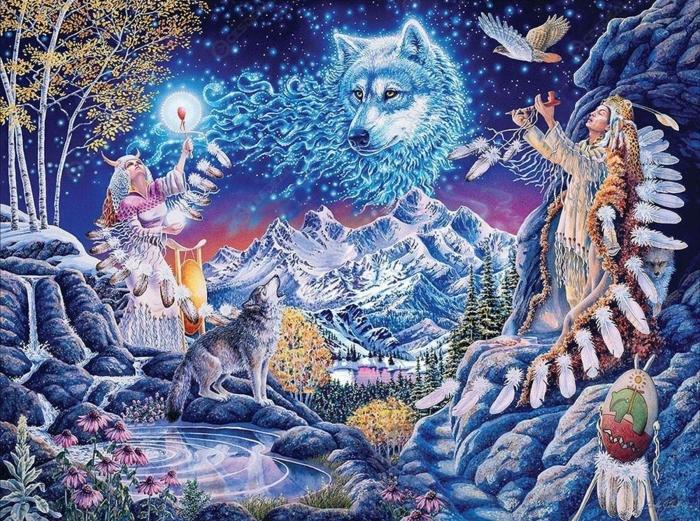 Beau dessin bleu lune et loups activité manuelle adulte, canevas diamant peinture petits pieces