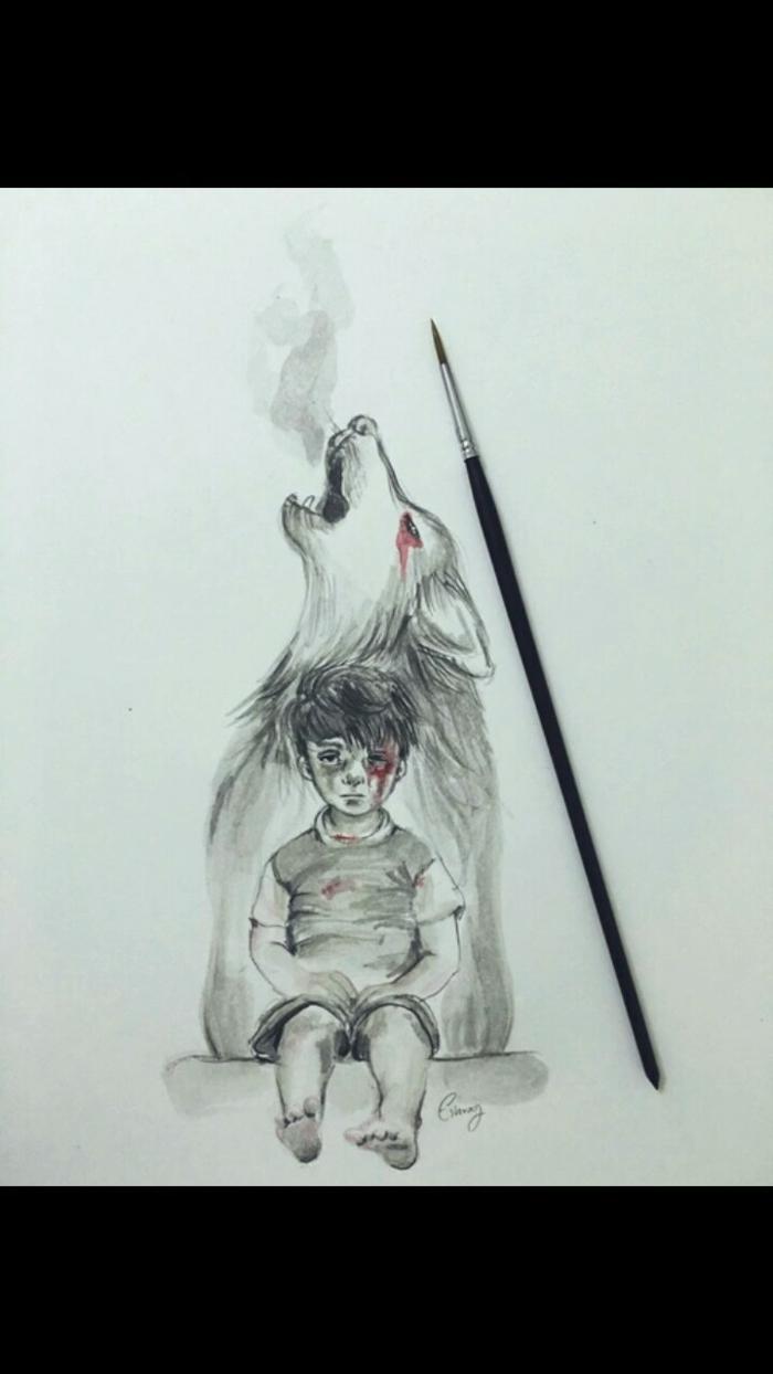 La tristesse expression en dessin, idée de dessin, idée que dessiner, dessin noir et blanc triste exprimer ses emotions
