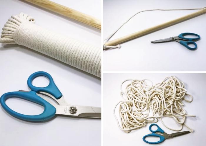 macramé tuto matériaux fabrication suspension macramé facile corde cotton ciseaux bâton en bois instruction diy suspension murale macramé