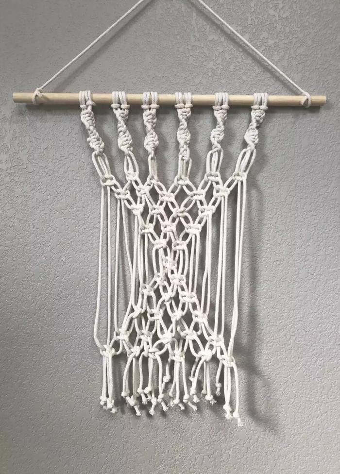 macramé tuto technique noeud de base macramé noeud tête d alouette noeud plat forme de v schéma corde cotton bâton bois