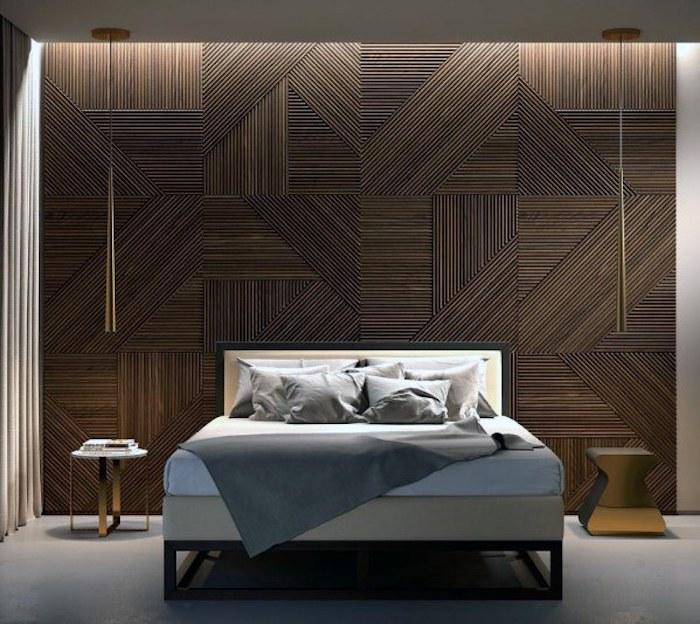 magnifique idée design bois plaques habiller un mur en bois idée lit double originale chambre a coucher