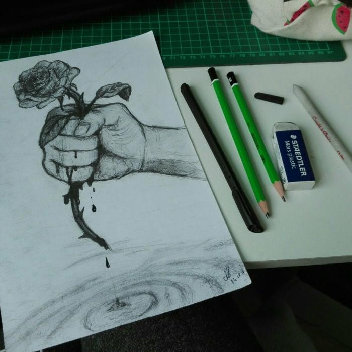 Main avec rose sang dessin a dessiner facile a reproduire, dessin femme triste comment faire