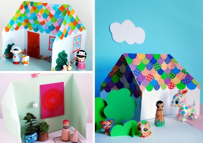 activités manuelles maternelle, modèles de maison en papier coloré à faire soi-même, créations en papier scrapbooking
