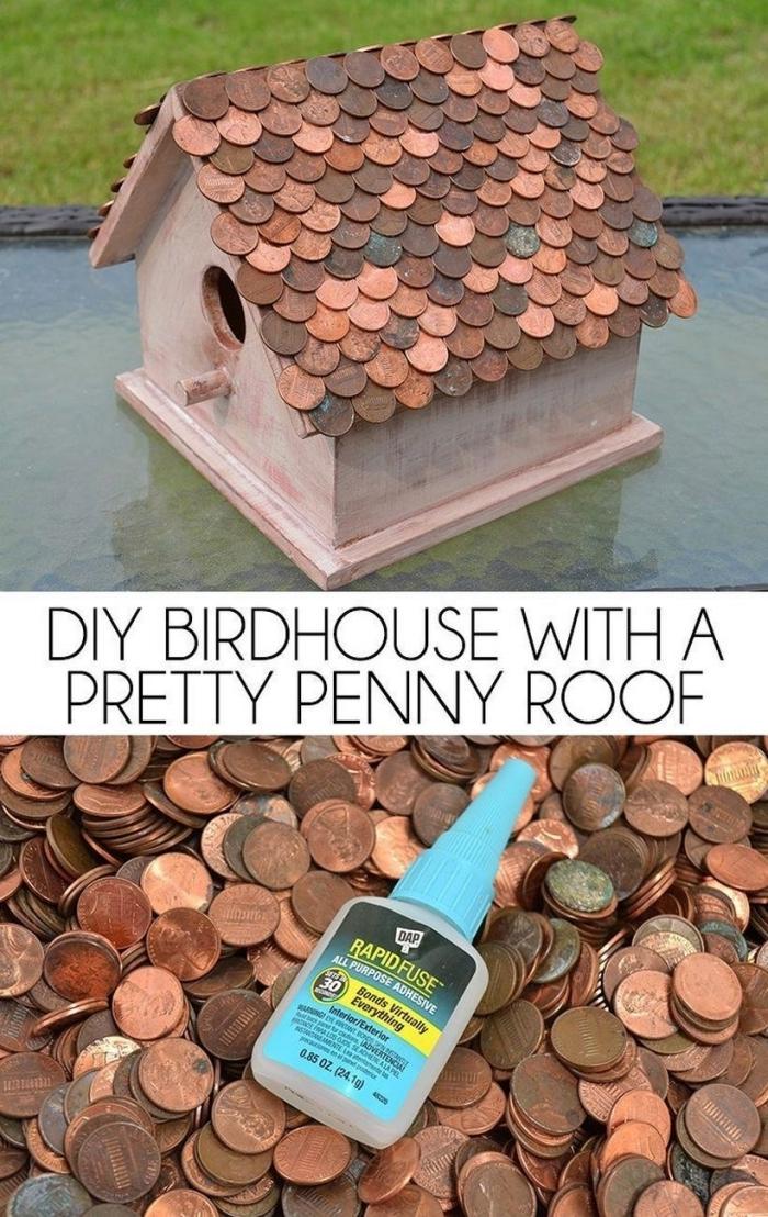 idée originale comment fabriquer une mangeoire pour oiseaux et la décorer avec pièces de cent collées sur le toit