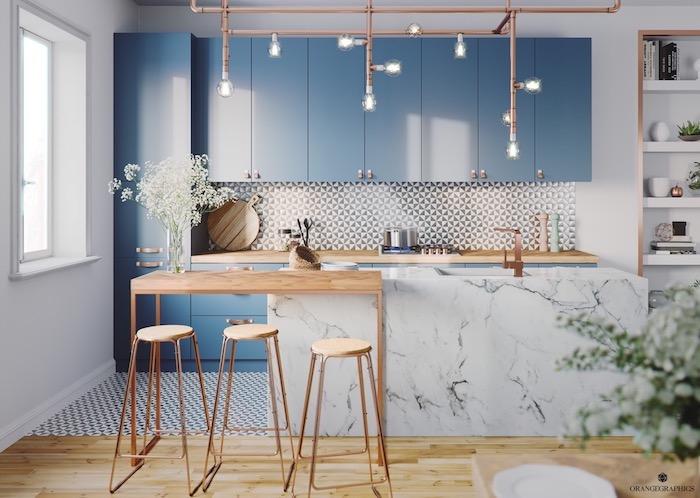 Bleu claire et marbre tendance cuisine 2020, association couleur à faire dans sa maison moderne industriel lustre