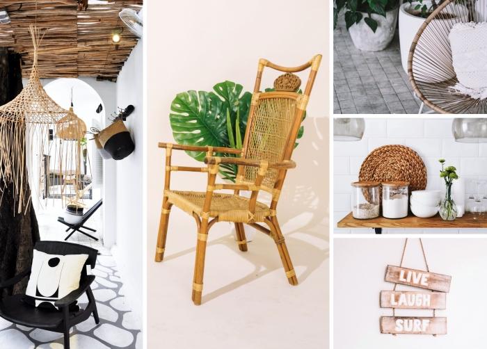 meubles rotin chaise en rotin luminaire paille décoration extérieure sous verre tressé panneau mural planches bois lettres surf