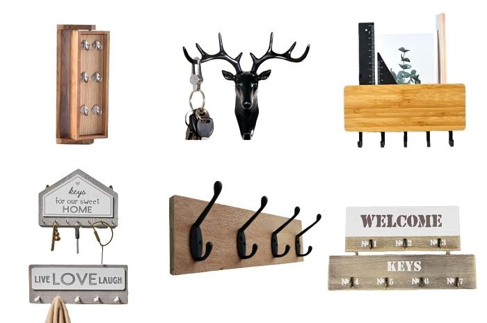 différents modèles d'accroche-clés de style moderne pour organiser ses clés, porte-clé mural en bois et métal avec rangement
