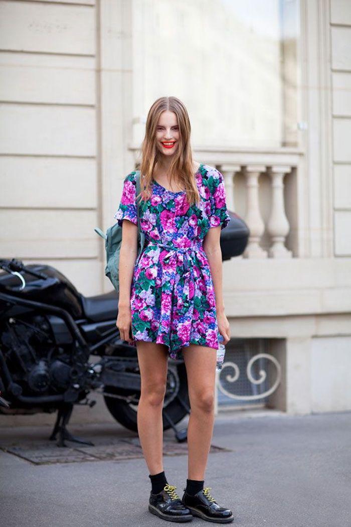 modele robe longue fleurie mode d aujourd hui actualité du monde de la mode robe courte manche courte vintage style chaussures bottines basses